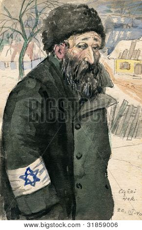 Old Jew wearing Star of David  - nazi occupation, Poland - watercolor painting by my grandfather, Robert Andersen, in 1940. The title means