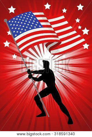 Silhouette Illustration Of A Man Holding The Flag Of The United States Of America, Flag Bearer, Patr