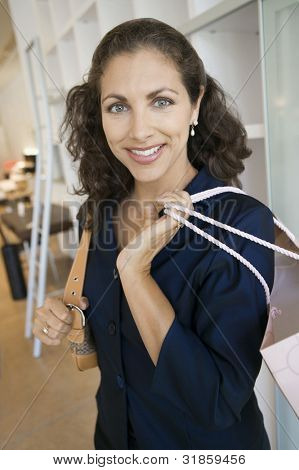 Woman Shopping in Furniture Store