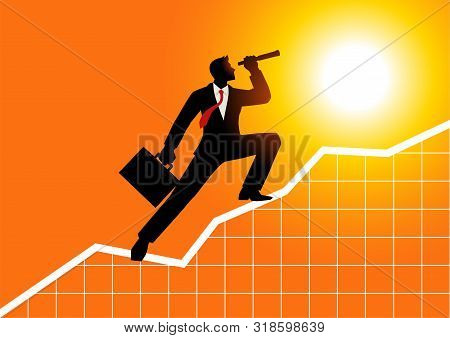 Silhouette Of A Businessman Using Telescope On Graphic Chart. Concept For Forecast, Prediction, Succ