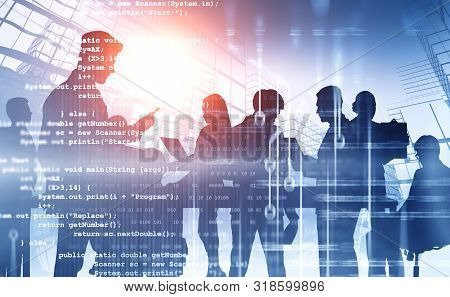 Silhouettes Of Business People Working Together Over Abstract City Background With Double Exposure O