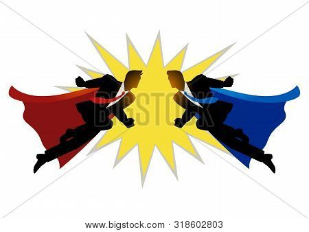 Silhouette Of Two Super Businessmen Clashing On The Air. Concept For Competition In Business
