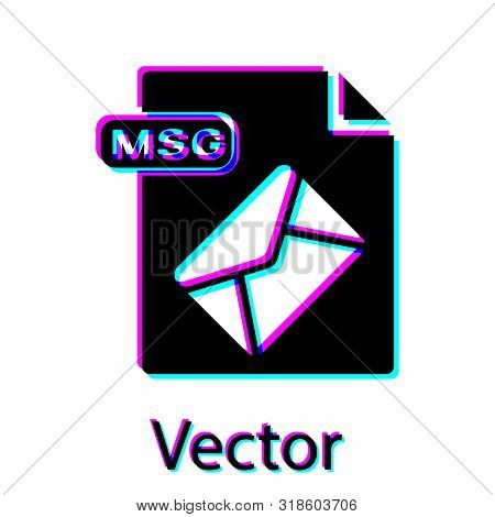 Black Msg File Document. Download Msg Button Icon Isolated On White Background. Msg File Symbol. Vec