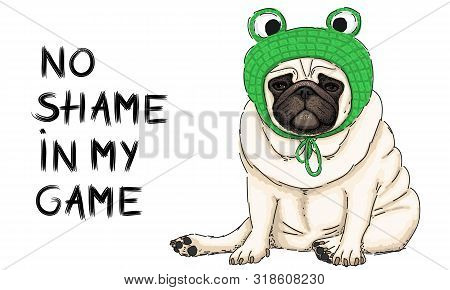 Hand Drawn Vector Illustration Of Cute Cool Pug Puppy Dog, Sitting Down With Green Crochet Frog Bonn