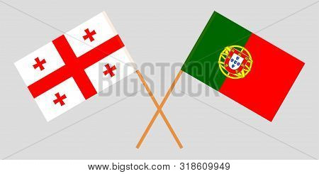 Georgia and Portugal. Crossed Georgian and Portuguese flags. Official colors. Correct proportion. Vector illustration poster