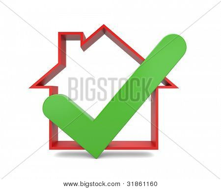 Home Inspektion. Erfolg-Metapher. Bild enthalten Beschneidungspfad
