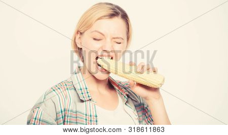 Strong Teeth Of Woman Bite Raw Corn. Healthy Teeth. Farming, Farmer Girl With Maize. Agriculture And