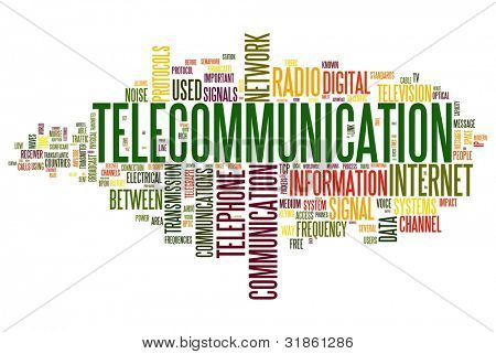 Telecommunication concept in word tag cloud isolated on white background