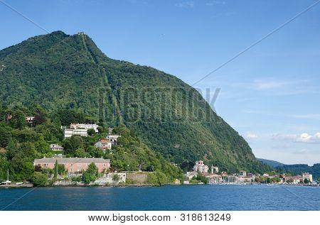 Laveno, Lake Maggiore, Italy. 16th August 2019. The Mountain Of Sasso Del Ferro Viewed From Lake Mag