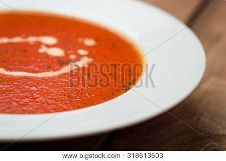 Tomato Soup Closeup View.