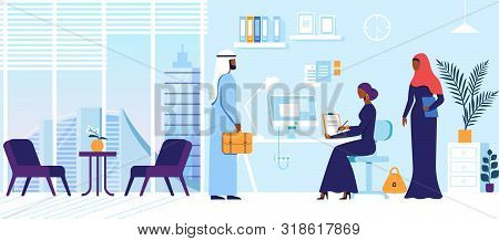 Business People Characters In Arabic Dresses In Office. Man With Suitcase Stand At Table With Woman