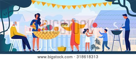 Family Resting In Park Or Garden, Dad Grilling Meat On Grill, Mum Holding Baby, Kids Play With Ball.