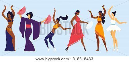 Traditional, Classic And Modern Dancing Hobby. Happy Female Characters Moving Body In Music Rhythm.