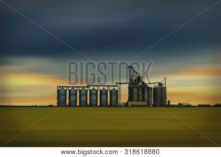 Inland Grain Terminal With The Capacity To Ship Grain By Rail. North Battleford, Saskatchewan, Canad