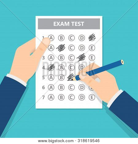 Passing Exam Test. Man Filling Out Answers To Exam Test Answer Sheet With Pencil. Vector Illustratio
