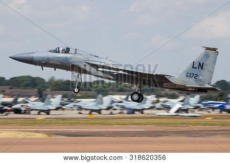 Fairford / United Kingdom - July 12, 2018: United States Air Force Usaf F-15c Eagle 86-0172 Fighter
