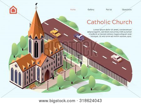Flat Banner Catholic Church Lettering Cartoon. Religious Building For Ceremonies Within City. High-r