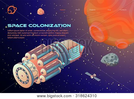 Banner Inscription Space Colonization Cartoon. Organization Colony Perspective. Space Ship Flying To