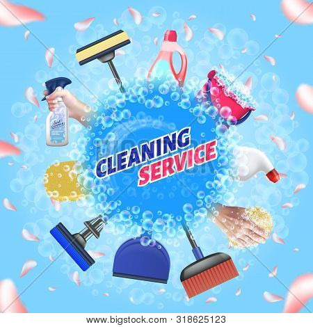 Detergent For Home. Logo Cleaning Service. Means For Cleaning Apartment. Bast In Hand. Clean House.