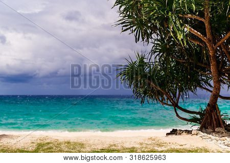 Beautiful Landscape Of Tropical Beach With Turquoise Sea And White Sand. Summer Vacation Consept.