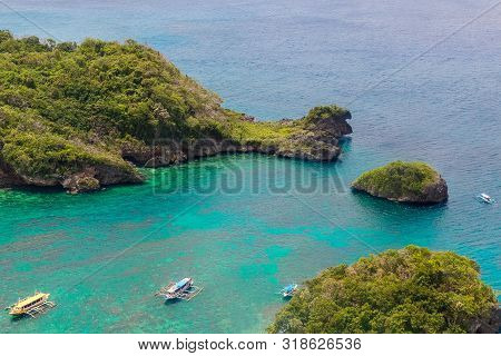 Aerial View From The Drone On The Landscape Tropical Island With Palm Trees And Turquoise Sea With B
