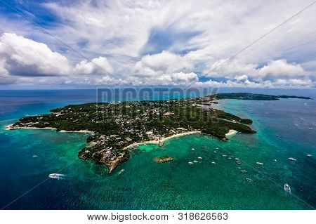 Aerial View From The Drone On The Beautiful Tropical Landscape Of Boracay Island, Phillipines. Summe