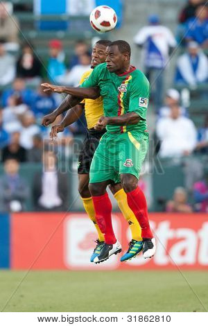 CARSON, CA. - JUNE 6: Grenada F Delroy Facey #8 (R) & Jamaica D Jermaine Taylor #6 (L) during the 2011 CONCACAF Gold Cup group B game on June 6, 2011 at the Home Depot Center in Carson, CA.