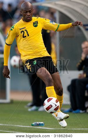 CARSON, CA. - JUNE 6: Jamaica F Luton Shelton #21 during the 2011 CONCACAF Gold Cup group B game on June 6, 2011 at the Home Depot Center in Carson, CA.