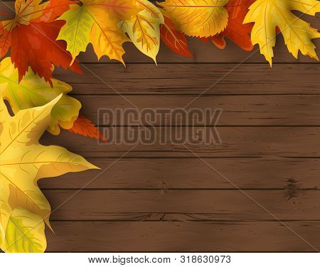 Autumn Background. Falling Leaves On Dark Wooden Background. Place For Text. Great For Party Invitat