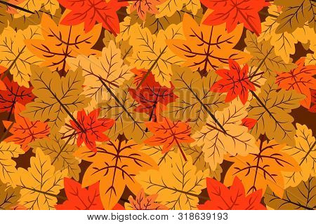 Seamless Pattern Of Autumn Vector Backgrounds, Autumn Background Red Leaves. Autumn Maple Autumn In