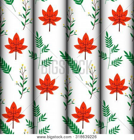 Seamless Pattern Of Floral And Leaf Vector Design Concepts, Autumn Red And Green Leaves. White Backg