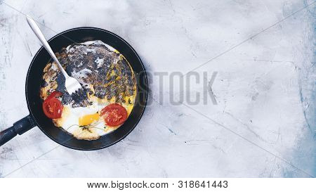 Breakfast With Fried Eggs And Vegetables. Fried Egg Pan. Omelet In The Frypan With Fresh Vegetables