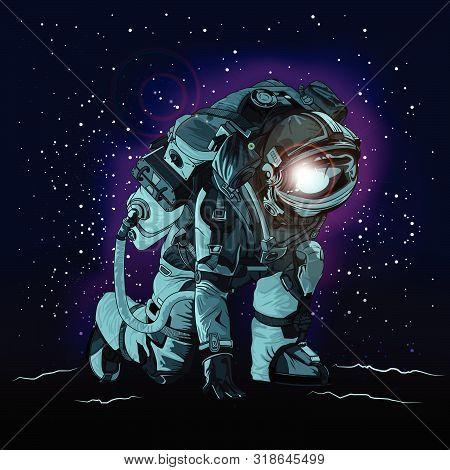 Astronaut In Spacesuit On Space., Astronaut Vector