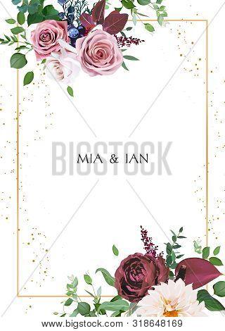 Desert Cinnamon, Brown, Dusty Pink Roses, Dahlia, Burgundy Anthurium Flowers, Juniper, Greenery Desi
