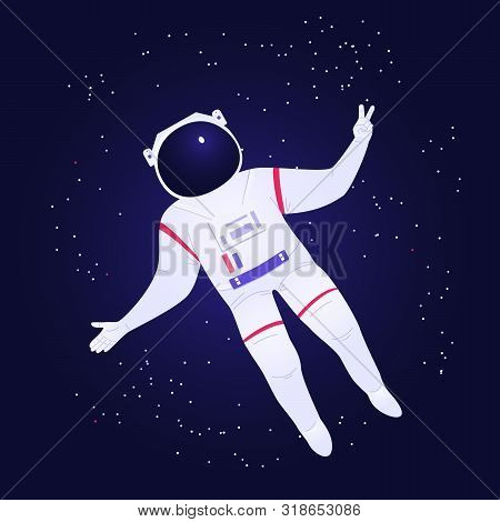 Astronaut In Spacesuit And Helmet Soars In Outer Space And Shows Victory Gesture. Stars With Deep Pu