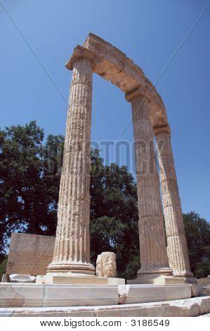 Greek Temple Ruins In Olympia