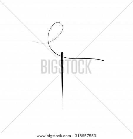 Sewing Needle Vector Isolated With Thread Glyph Icon. Silhouette Symbol.
