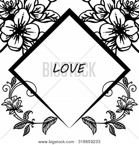 Silhoutte Floral Frame, For Greeting Card Of Love. Vector