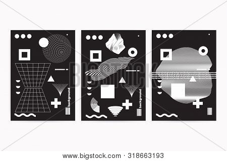 Universal Modern Geometric Abstract Posters Set With Shapes Composition. Vector Template For Web Ban