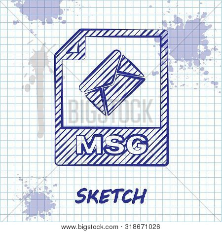 Sketch Line Msg File Document. Download Msg Button Icon Isolated On White Background. Msg File Symbo