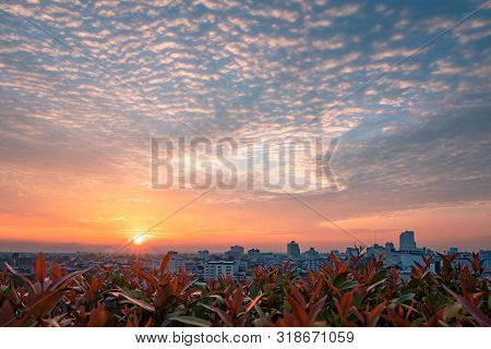 Beautiful Big City Sky And Clouds Sunrise Background