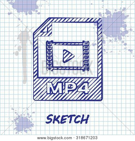 Sketch Line Mp4 File Document. Download Mp4 Button Icon Isolated On White Background. Mp4 File Symbo