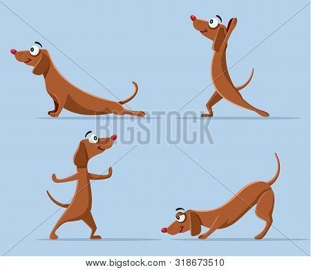 Funny Wiener Dog Doing Yoga Vector Cartoon