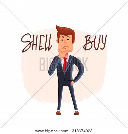 Doubtful Stock Exchange Market Trader Holding A Hand On Chin Analyzing Index, To Buy Or Sell Shares