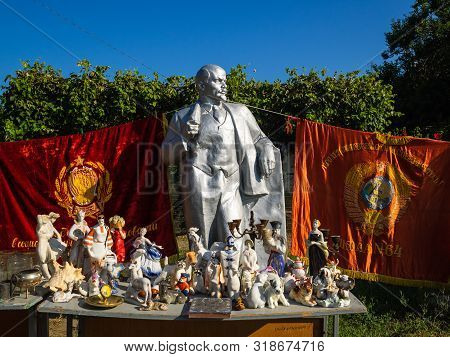 Krasnodar, Russia - August 1, 2019: Monuments, Busts And Coats Of Arms Depicting Lenin. Vladimir Len