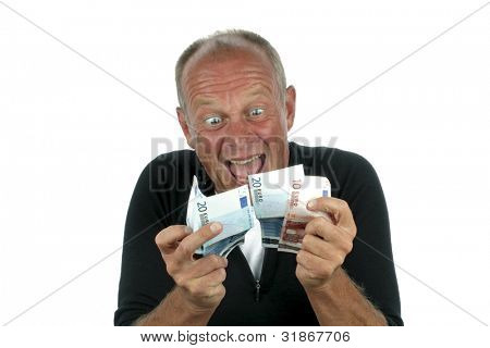 Man totally excited after winning the lottery on a white background