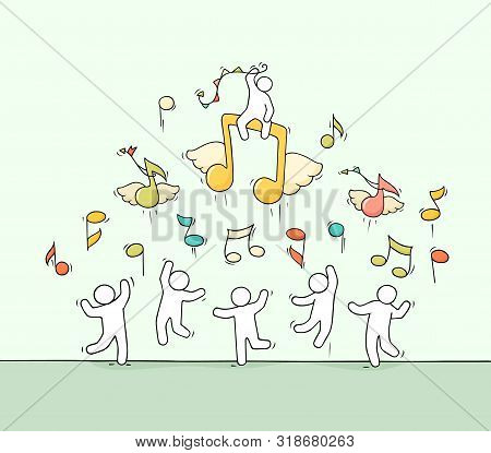 Sketch Of Crowd Little People With Flying Notes. Doodle Cute Miniature Scene About Music. Hand Drawn