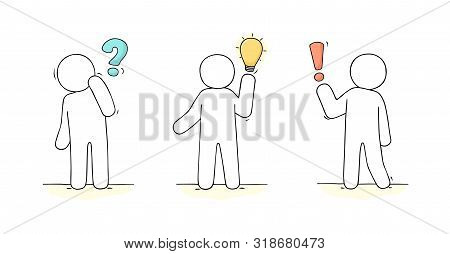 Cartoon Working Little People With Communication Signs. Doodle Cute Miniature Scene About Communicat
