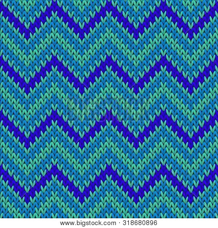 Vintage chevron stripes knit texture geometric seamless pattern. Scarf hosiery textile print. Winter seamless knitted pattern. Cozy textile print design. poster