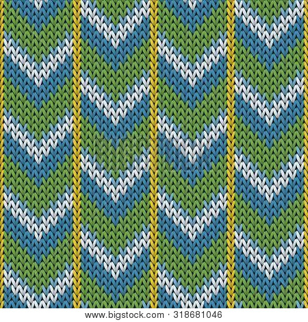 Yarn Downward Arrow Lines Knitted Texture Geometric Seamless Pattern. Pullover Knitwear Fabric Print